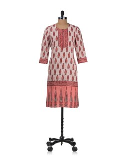 Summery Peach And White Printed Kurta - Cotton Curio