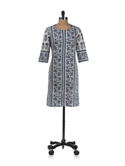 Grey And White Vertical Print Kurta - Cotton Curio