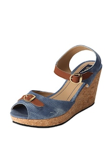 Out Of The Blue Wedge Heels - Blue Button