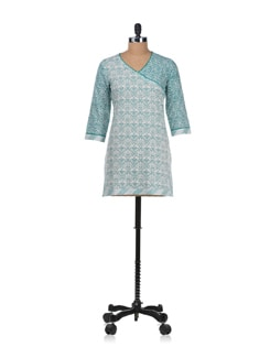 White & Aqua Print Kurta - Cotton Curio
