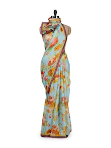 Elegant Sky Blue Floral Saree - Purple Oyster