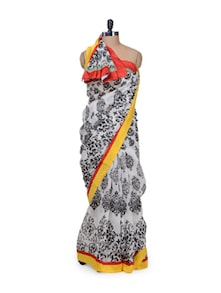 White Printed Raw Silk Saree - purple oyster