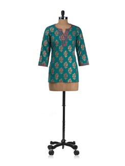 Sea Green Kurta With Khadi Work - Cotton Curio