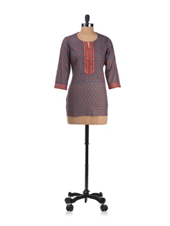 Blue And Maroon Short Kurti - Cotton Curio