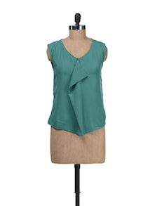 Green Sleeveless Front Ruffle Top - Besiva