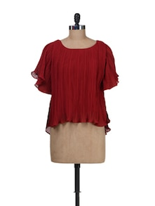 Red Pleated Top - Besiva