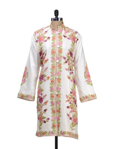 Embroidered Silk Jacket In Cream - Inara Robes