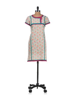Off-white Printed Kurta - Cotton Curio