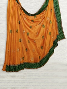 Ochre Matka Silk Saree With Resham Embroidery - SATI