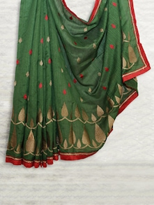 Green Embroidered Matka Silk Saree - SATI