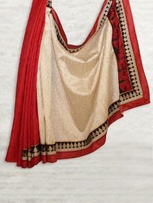 Red & Beige Matka Silk With Jaquard Saree - SATI
