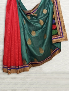 Teal Blue & Red Matka Silk With Jaquard Saree - SATI