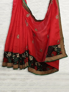 Red & Black Embroidered Matka Silk Saree - SATI