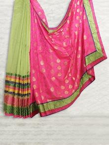 Pink & Green Handloom Patola Saree - SATI