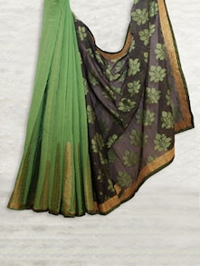 Elegant Grey & Green Half-Half Chandheri Saree - SATI