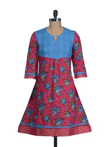 Ethnic Pink & Blue Mirror Work Kurta - Cotton Curio