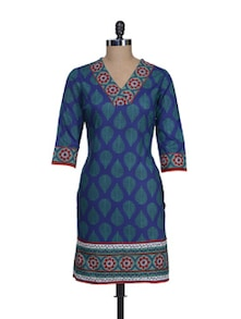 Blue & Green Buti Print Kurta - Cotton Curio