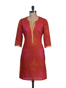 Elegant Red Buti Print Kurta - Cotton Curio