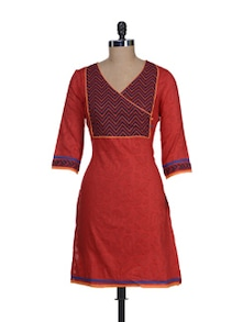 Red Wrapped Front Kurta - Cotton Curio