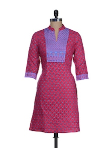 Stylish Pink & Blue Printed Kurta - Cotton Curio
