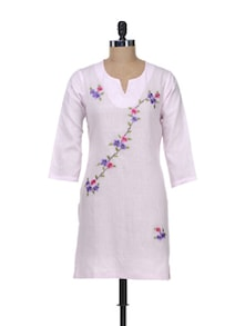 Baby Pink Kurti With Floral Embroidery - Overdrive