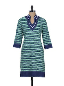 Blue & Green Leaf Print Kurta - Overdrive