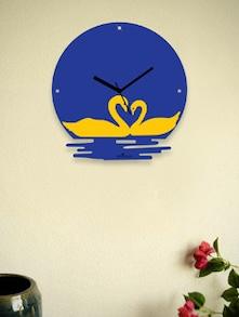 Twin Swans In The Water Blue Wall Clock - Zeeshaan