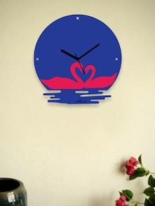 Twin Swans In The Water Blue Wall Clock - Zeeshaan 55073