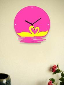 Twin Swans In The Water Pink Wall Clock - Zeeshaan