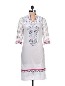 Elegant White Embroidered Kurta - AKYRA