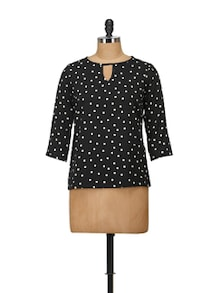 Elegant Black & White Dotted Top - Harpa