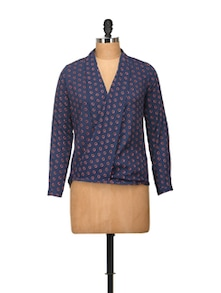 Printed Navy Top With Wrapped Front - Harpa