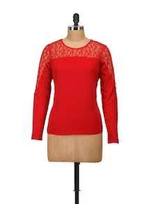 Elegant Red Lace Top - Harpa