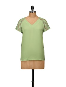 Elegant Mint Green Top With Lace Sleeves - Harpa