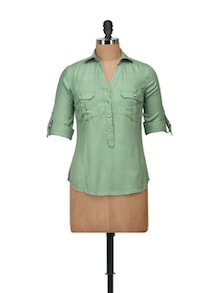 Stylish Green Collared Top - Harpa
