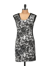 Elegant Black & White Printed Dress