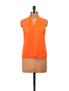 Neon Orange Wrapped Front Top - Harpa