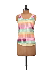 Multicolored Printed Sleeveless Top - Harpa
