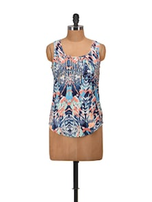 Blue Printed Sleeveless Top - Harpa