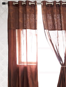 Brown Sheer Door Curtain - HOUSE THIS