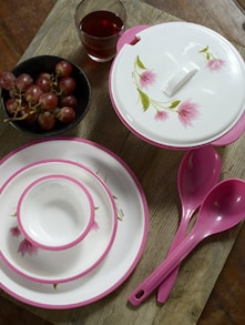 Printed Pink Dinner Set- 32 Pieces - Nayasa