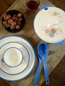 Printed Blue Dinner Set- 32 Pieces - Nayasa
