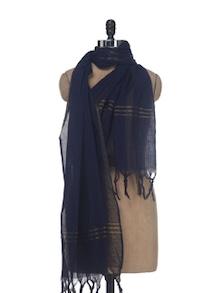 Navy Blue Cotton Dupatta - Nanni Creations