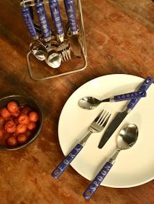 Engraved Blue Cutlery Set- 25 Piece - Elegante