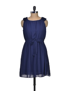 Short Navy Dress With Tie Up Belt - Deal Jeans