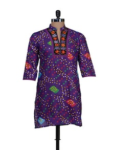 Bright Purple Printed Kurti - AFSANA