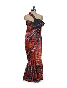 Red Abstract Print Saree - Garden