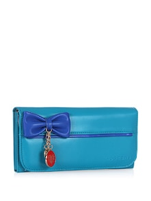 Bow Motif With Heart Charms Blue Wallet - Addons