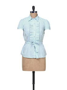 Sky Blue Top With Pleated Front Placket - Kaxiaa