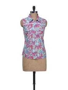 Sleeveless Floral Print Shirt - Kaxiaa